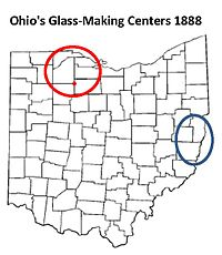 map of Ohio showing two major glass making centers