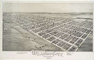 Oklahoma City - Lithograph of Oklahoma City from 1890
