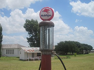 Mobil - Old Mobilgas pump displayed on the grounds of the Scurry County Coliseum in Snyder, Texas