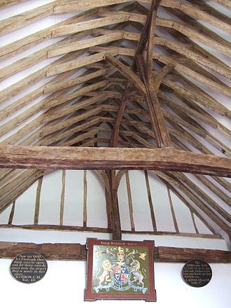 King post - Crown posts in the nave roof at Old Romney church, Kent, England