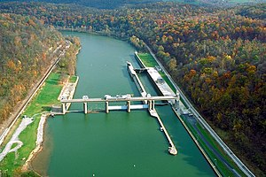 Opekiska Lock and Dam on the Monongahela River...