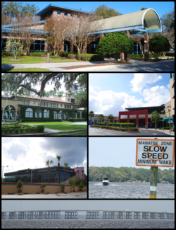 Top, left to right: Town Hall, Club Continental, Orange Park Mall, The Poker Room, Doctors Lake, the Buckman Bridge viewed from Orange Park