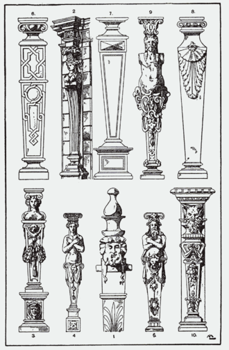 Term (architecture) - Terminal figures copied from French and Antwerp 16th-century Mannerist pattern books.