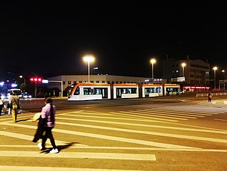 Trams in Wuhan - Image: Outside of a Auto city tram