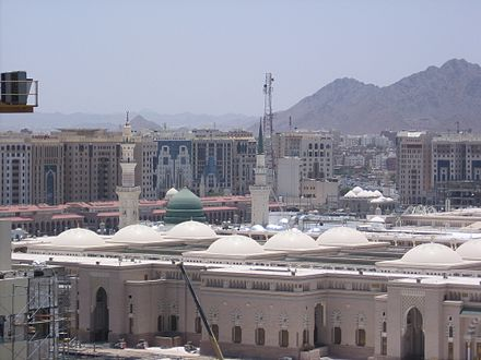 Al-Masjid an-Nabawi at Medinah, the empire's first capital, in the Hijaz, Arabian Peninsula, 2008 Outsideofmasjedolnabi6.JPG