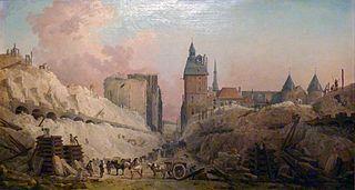 Travaux de démolition des maisons du Pont-au-Change en 1788 ; en arrière plan, la Conciergerie
