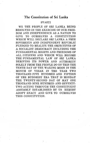Sri Lankan Constitution of 1972 - Page one of the 1972 Constitution