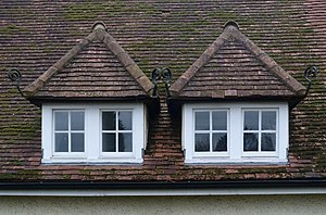 Dormer - Pair of hip roof dormer windows on the Howard Memorial Hall, Letchworth