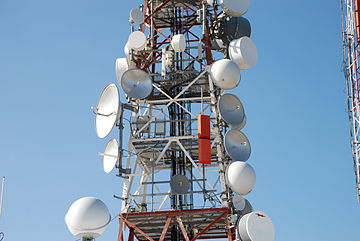Parabolic antennas of microwave relay links on tower in Australia. Parabolic antennas.JPG