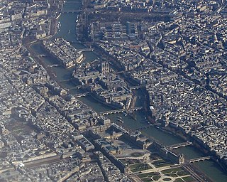Island in the river Seine, Paris, France