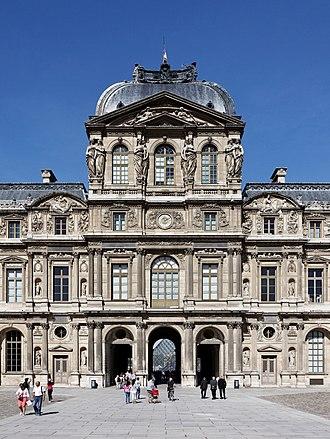 Pavillon de l'Horloge - The east (Cour Carrée) facade of the Pavillon de l'Horloge, designed by Jacques Lemercier