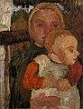 Paula Modersohn-Becker - Auf einem Stuhl sitzendes Mädchen mit Kind auf dem Schoß vor Landschaft (ca. 1904).jpg
