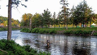 "Matapedia River - Salmon fishing on the Matapedia River at ""La fosse Les Fourches"" (Forks pits)"