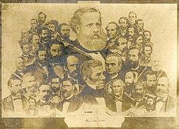 Uma ilustração que descreve a grande cabeça e ombros de um homem barbudo sobrepor sobre um grande número de pequenos bustos masculinos