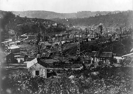 1864, Pennsylvania oil drilling early in the history of the petroleum industry in the United States Penn oil 1864.jpg