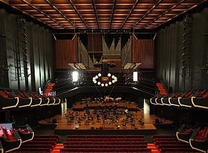 Perth Concert Hall (Western Australia) - Interior detail of the Perth Concert Hall, showing the stage and pipe organ