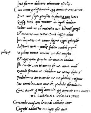Pervigilium Veneris - End of the poem in a humanistic manuscript (codex V)