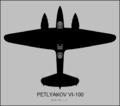 Petlyakov VI-100 top-view silhouette.png