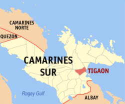 Map of Camarines Sur with Tigaon highlighted