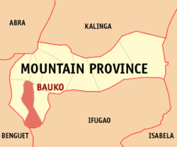 Mapa ng Mountain Province na nagpapakita sa lokasyon ng Bauko.