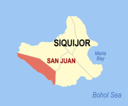Map of Siquijor with location of San Juan
