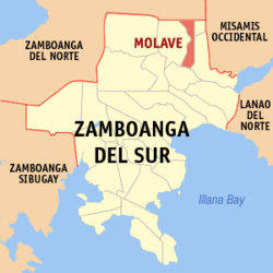 Map of Zamboanga del Sur with Molave highlighted