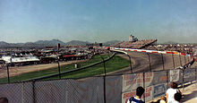 The view from outside the 4th turn at Phoenix International Raceway in 1989