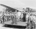 Photograph of President Truman speaking at the airport ceremony marking the departure of Secretary of State James... - NARA - 199412.tif