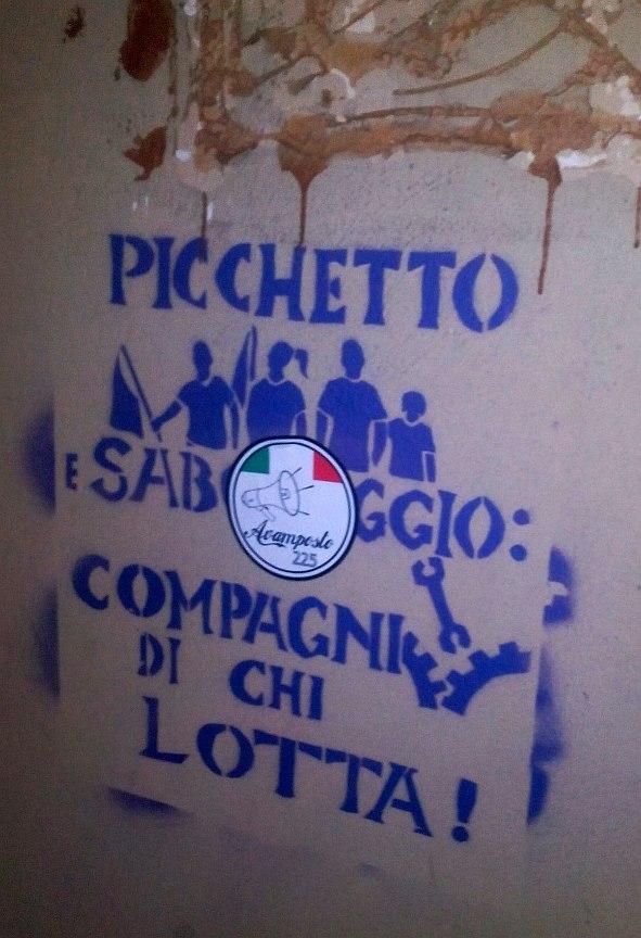 Picchetto sabotaggio stencil in Turin