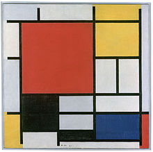 Abstract painting of multicolored squares and rectangles