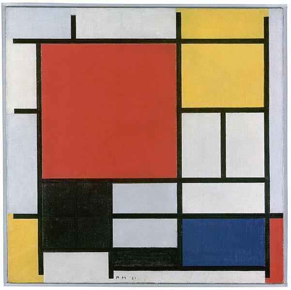 fichier:piet mondriaan, 1921 - composition en rouge, jaune, bleu et