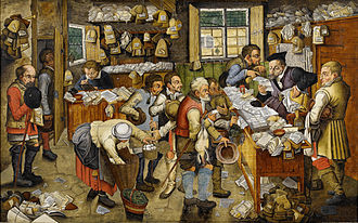Calendar - The Payment of the Tithes (The tax-collector), also known as Village Lawyer, by Pieter Brueghel the Younger or workshop