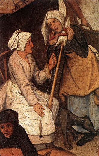 Gossip - ''One winds on the distaff what the other spins'' (Both spread gossip) by Pieter Bruegel the Elder