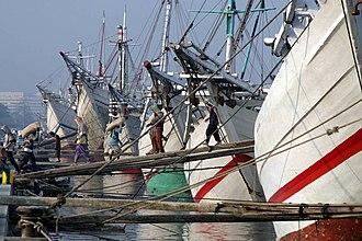 Sunda Kelapa - Pinisi line up at Sunda Kelapa, old harbour of Jakarta.