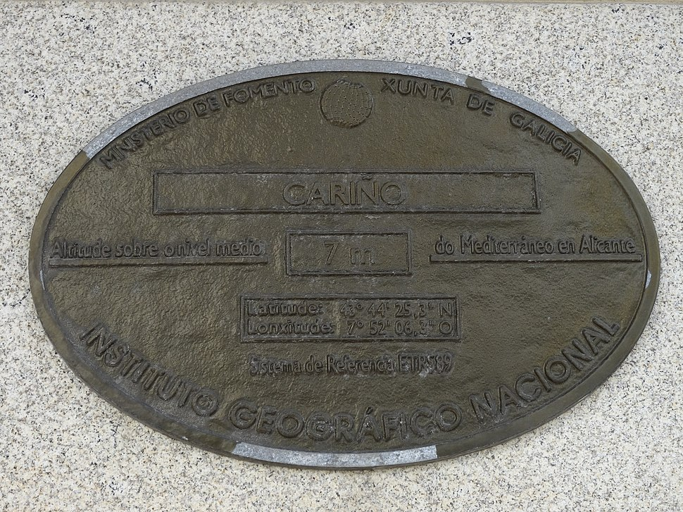 Placa altimétrica de Cariño, Coruña