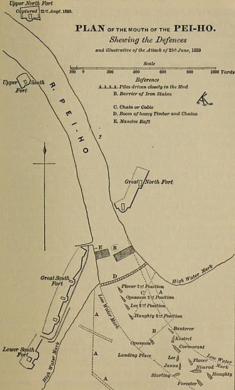 Battle of Taku Forts (1859) - Image: Plan of attack on Peiho River 1859