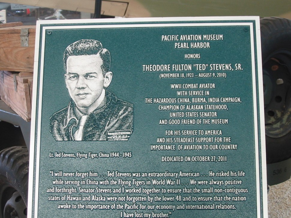 Plaque honoring Ted Stevens%27 wartime service