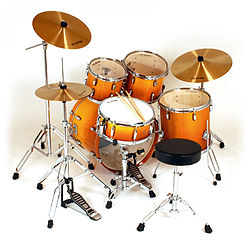 a basic five-piece fusion kit, with one crash cymbal and no effects  cymbals, complete with throne (stool) and sticks