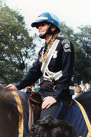 Women in law enforcement - Mounted police woman in Boston in 1980