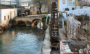 Torres Novas - The Roman bridge and water wheel over the River Almonda