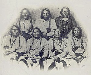 Sand Creek massacre - A delegation of Cheyenne, Kiowa, and Arapaho chiefs in Denver, Colorado on September 28, 1864. Black Kettle 2nd from left front row