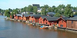 Riverside storage buildings in Old Porvoo in July 2004