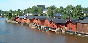 Porvoo - Riverside storage buildings in Old Porvoo in July 2004