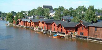 Porvoo - Riverside storage buildings in Old Porvoo in July 2004