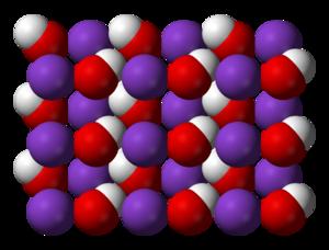 Potassium hydroxide - Image: Potassium hydroxide xtal 3D vd W