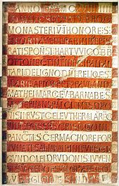 Prüfungingen consecrated inscription, your text was created using a single letter stamp