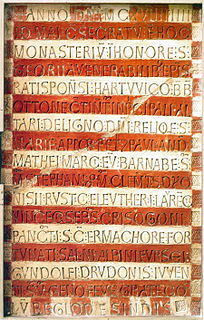 Prüfening dedicatory inscription Inscription impressed on clay which was created in 1119