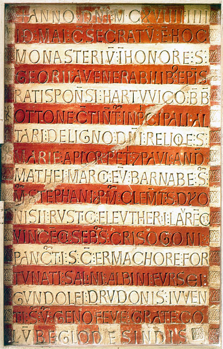 Latin dedicatory inscription of 1119 for the church of Prüfening Abbey, Germany