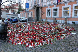 Reactions to the November 2015 Paris attacks - French Embassy in Prague, Czech Republic, 18 November 2015