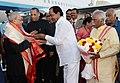 Pranab Mukherjee being received by the Governor of Andhra Pradesh and Telangana, Shri E.S.L. Narasimhan, the Chief Minister of Telangana.jpg